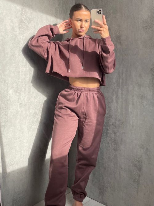 Abbi Raw Hem Cropped Hoodie & Jogger Fleece Co-ord In Light Chocolate