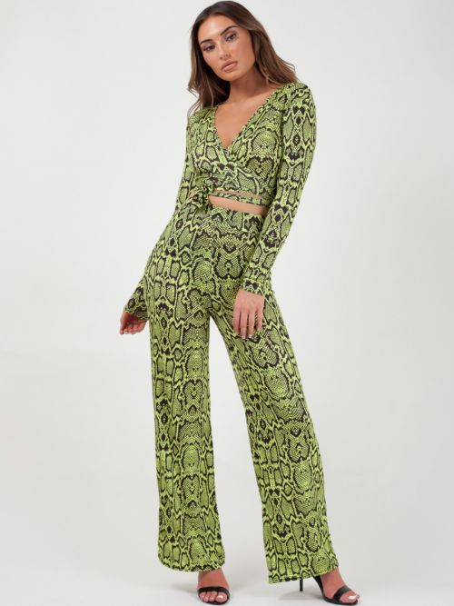 Linda Snake Print Wrap Crop Top & Trouser Co-ord In Lemon