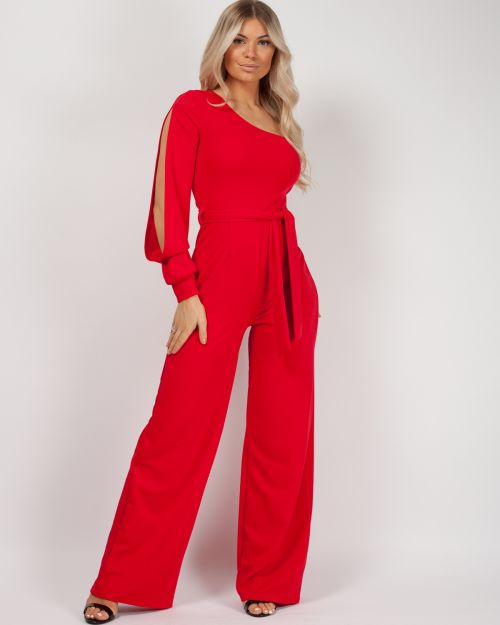 Jinell One Shoulder Split Sleeve Jumpsuit In Red