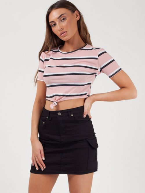 Zara Knot Front Striped Crop Top In Pink