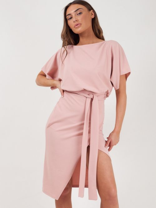 Marisol Wrap Front Belted Midi Dress In Baby Pink