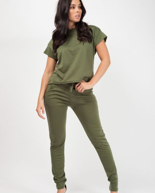 Niyah Short Sleeve Boxy Loungewear Co-ord In Khaki