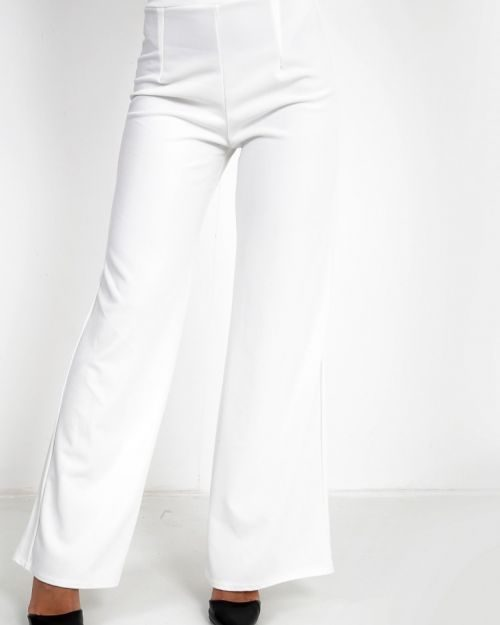 Lillian High Waisted Flare Trouser In Cream