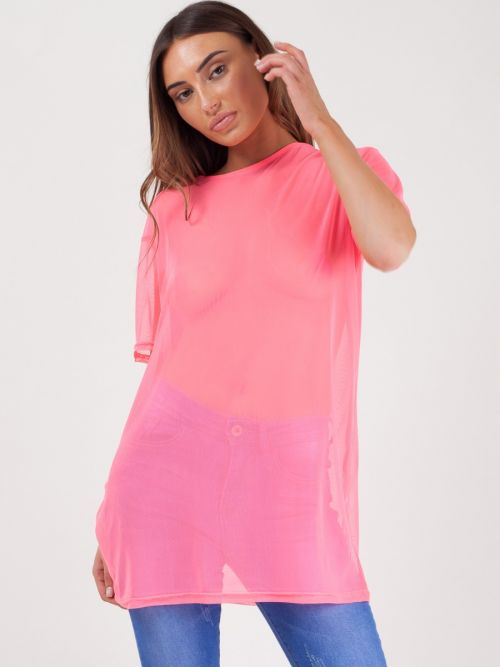 Daya Longline Mesh T-Shirt Top In Pink