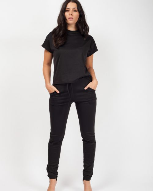 Niyah Short Sleeve Boxy Loungewear Co-ord In Black