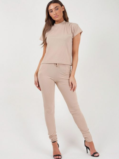 Luisa Ribbed Short Sleeve Boxy Loungewear Co-ord In Stone