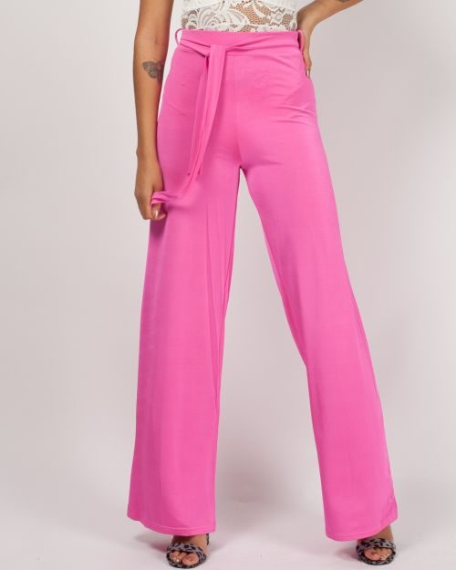 Cierra Slinky Tie Detail Wide Leg Trousers In Pink