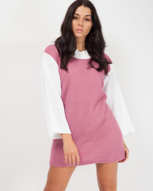 Chloë Two Tone Knitted Jumper Dress In Pink