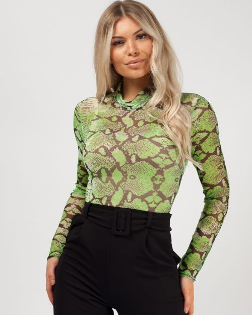 Tallie Snake Print Mesh Bodysuit In Green