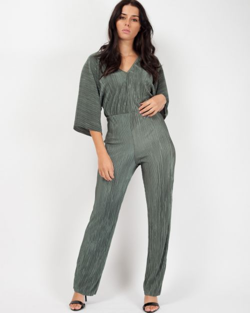 Darby Batwing Sleeve Pleated Jumpsuit In Khaki