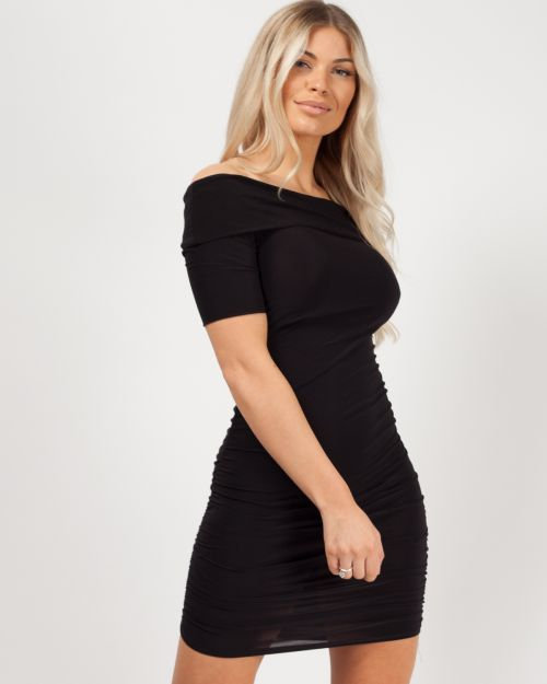 Faith Slinky Ruched Bardot Dress In Black