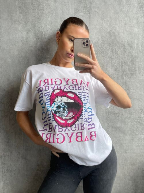Yvonne Skull Lips Graphic Printed T-Shirt In White