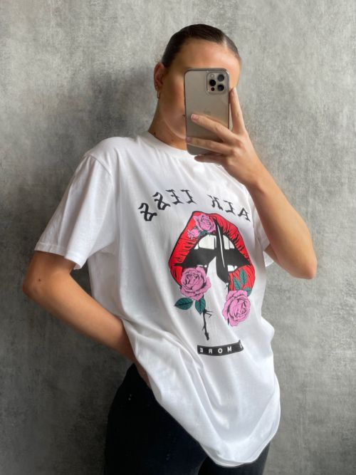 Pamella Talk Less Graphic Printed T-Shirt In White