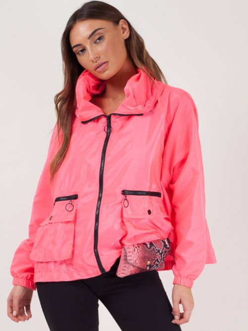 Scarlet Hooded Rain Parka Festival Jacket In Pink