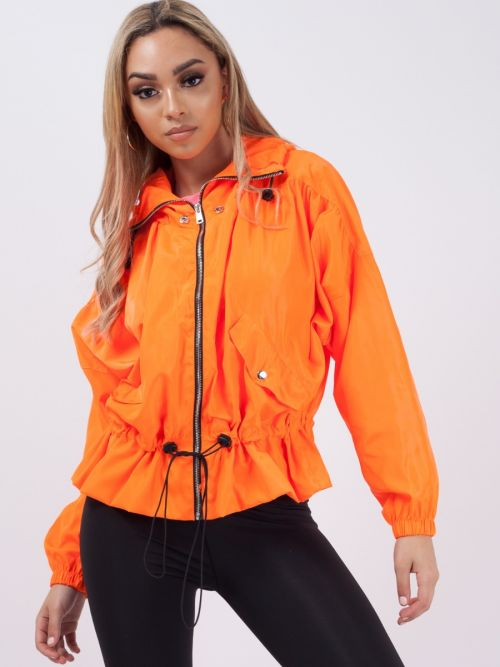 Hailee High Neck Hooded Festival Jacket In Neon Orange
