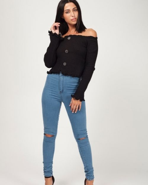 Remy Button Front Knitted Bardot Crop Top In Black