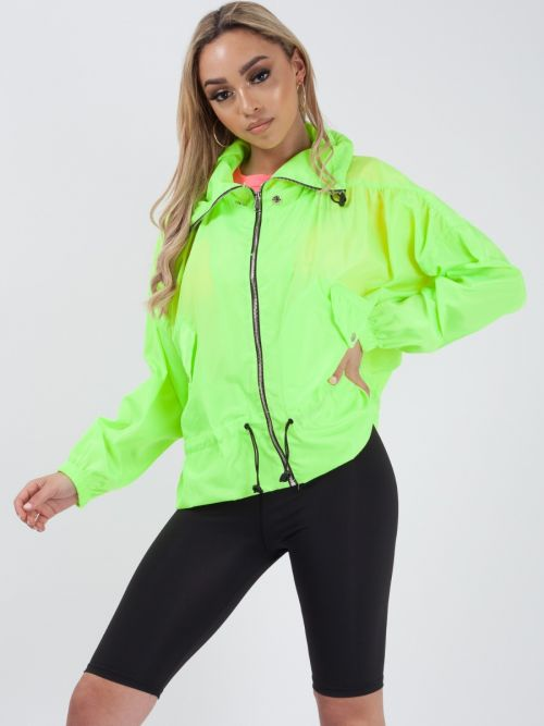 Hailee High Neck Hooded Festival Jacket In Neon Green