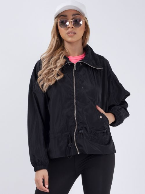 Hailee High Neck Hooded Festival Jacket In Black