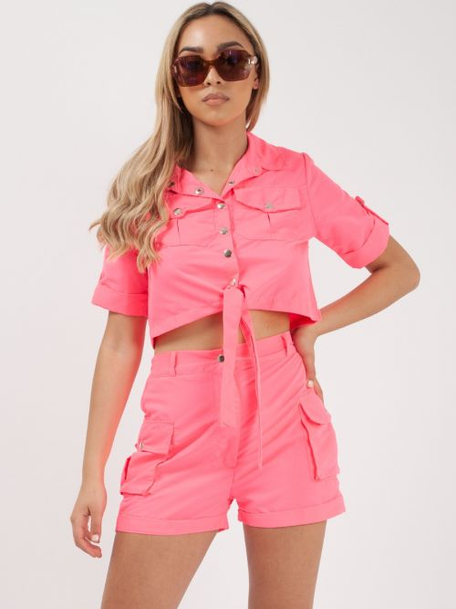 Haven Cargo Crop Top & Shorts Co-ord In Neon Pink