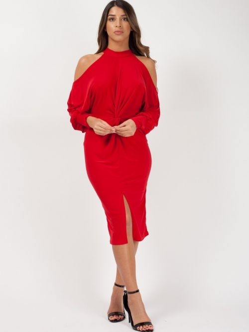 Catalina Cold Shoulder Twist Front Dress In Red