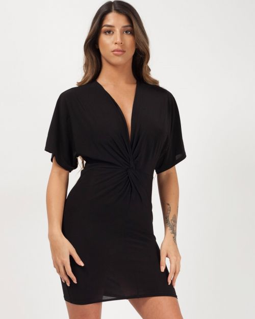 Arabella Twist Front Bodycon Dress In Black