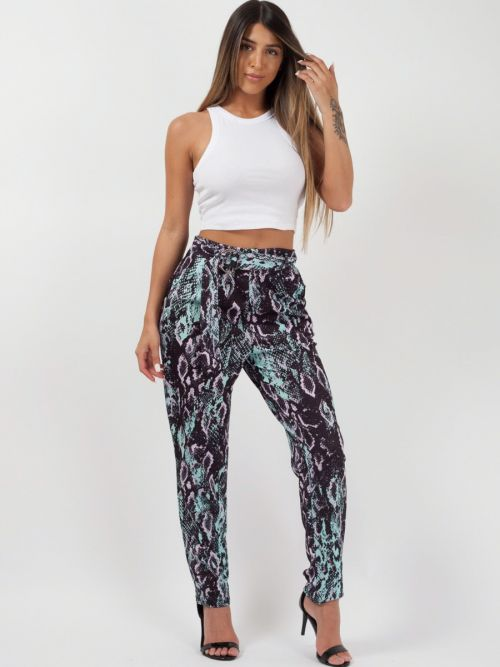 Aurora Snake Print Belted Buckle Trousers In Mint