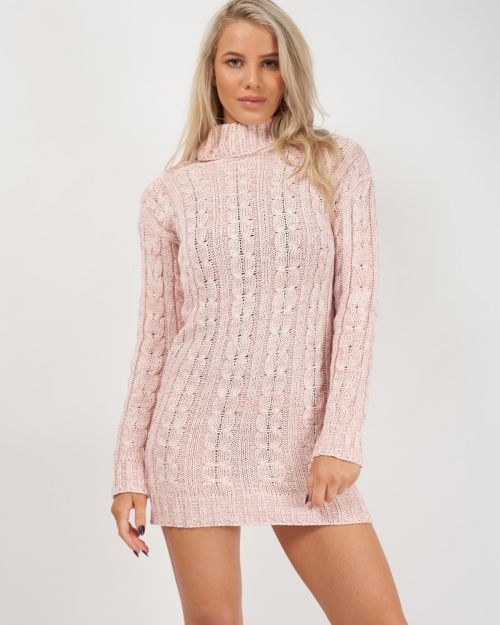 Connie Roll Neck Cable Knit Jumper Dress In Pink