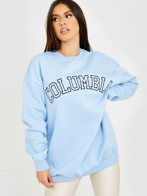 Heather COLUMBIA Embroidered Sweatshirt Jumper In Blue