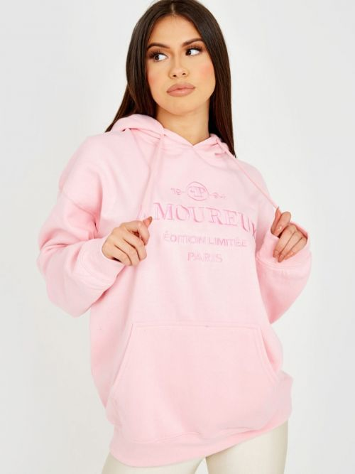 Shannon Embroidered Amoureux Fleeced Hoodie In Pink