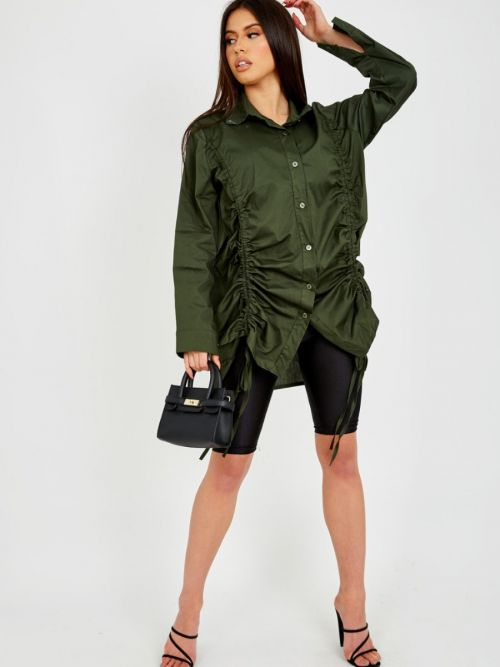Rachelle Drawstring Ruched Buttoned Shirt Dress In Olive