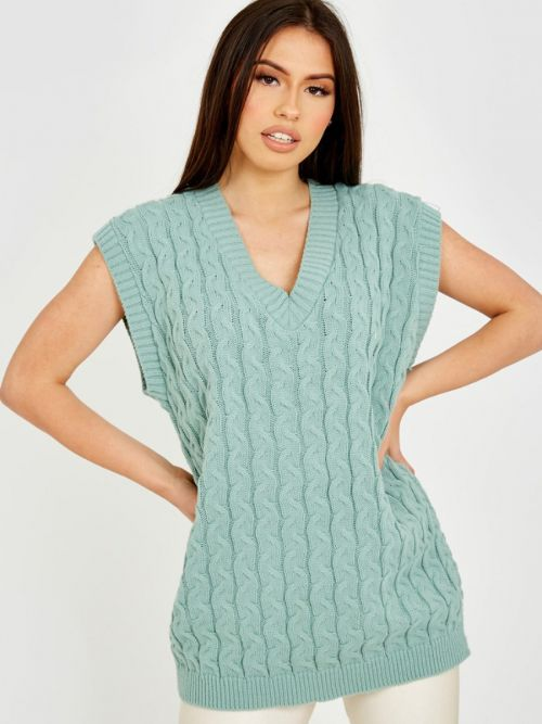 Roberta Cable Knit V-Neck Sleeveless Jumper In Mint