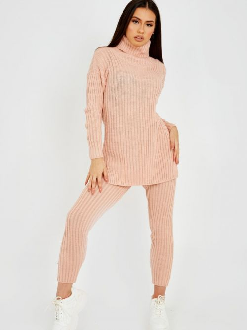 Louli New Roll Neck Knitted Top & Trouser Co-ord In Rose