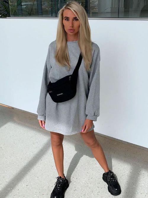 Lainey Plain Oversized Basic Sweater Dress In Grey