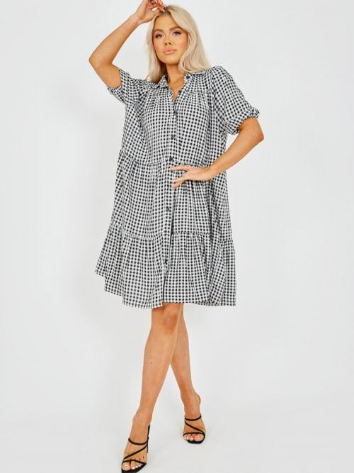 Polly Checked Button-Front Tiered Smock Dress In Monochrome