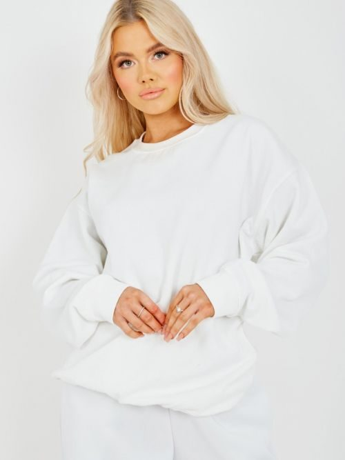 Simonne Plain Sweatshirt Jumper In White