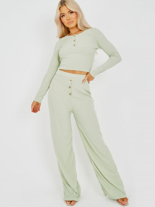 Dorothy Button Detail Ribbed Co-ord In Mint