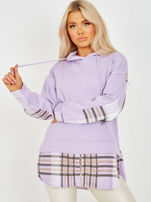 Hilary Check Detail Fleece Hoodie In Lilac