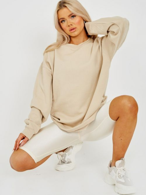 Simonne Plain Sweatshirt Jumper In Stone
