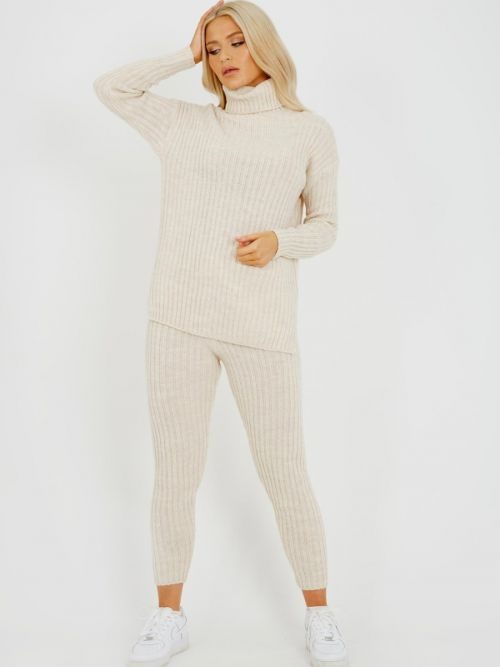 Louli New Roll Neck Knitted Top & Trouser Co-ord In Stone