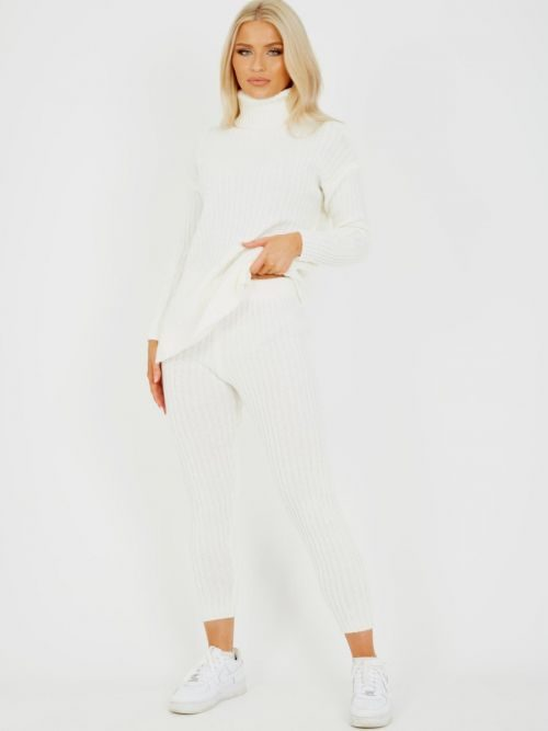 Louli New Roll Neck Knitted Top & Trouser Co-ord In Cream