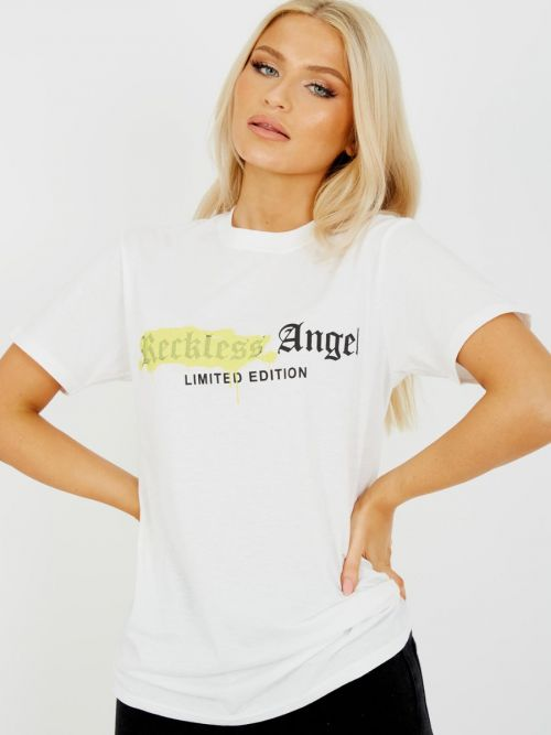 Jess Reckless Angel Graphic Printed T-Shirt In White