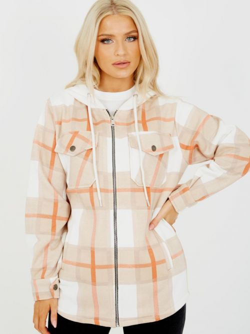 Lisa Thick Checked Shacket With Zip & Hood In Stone