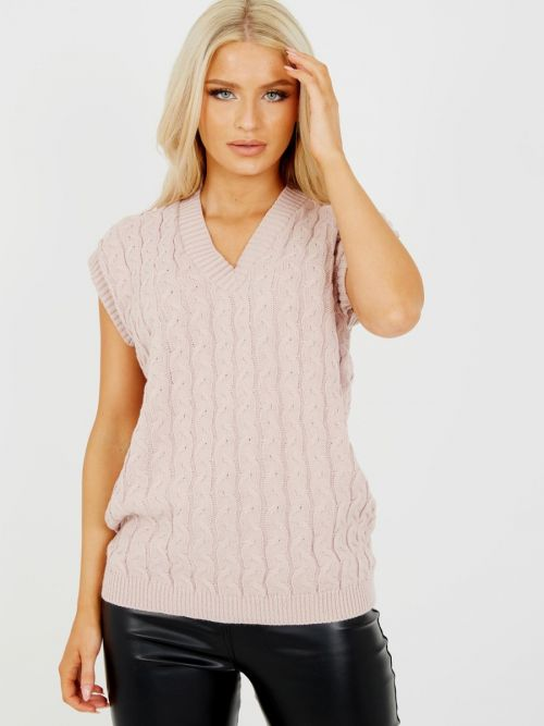 Roberta Cable Knit V-Neck Sleeveless Jumper In Pink