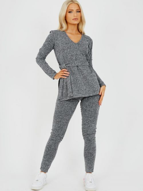 Natasha Melange Knit Ribbed Belted Top & Trouser Co-ord In Grey