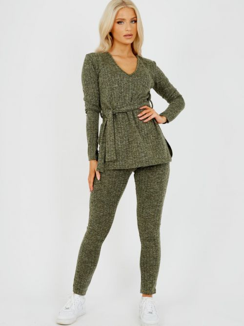 Natasha Melange Knit Ribbed Belted Top & Trouser Co-ord In Khaki