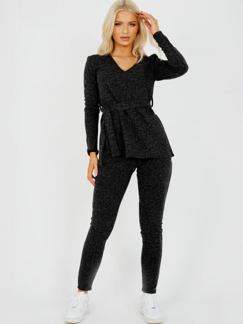 Natasha Melange Knit Ribbed Belted Top & Trouser Co-ord In Black