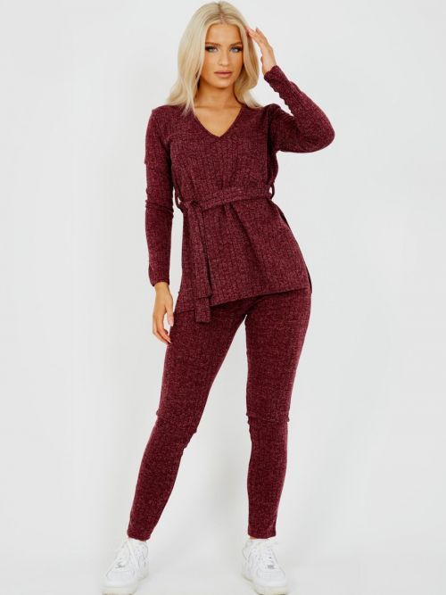 Natasha Melange Knit Ribbed Belted Top & Trouser Co-ord In Wine