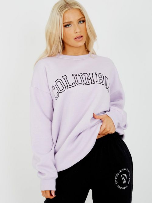 Heather COLUMBIA Embroidered Sweatshirt Jumper In Lilac