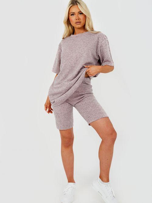 Melange Knit Oversized T-Shirt & Shorts Co-ord In Pink