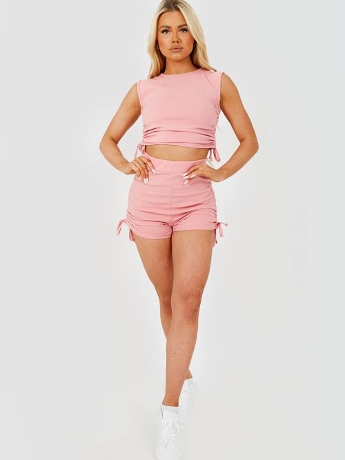 Kathryn Functional Drawstring Ruched Crop Top & Shorts Co-ord In Pink